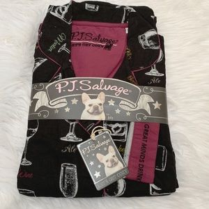 NWT P.J. Salvage Great Minds Drink Alike PJ Black